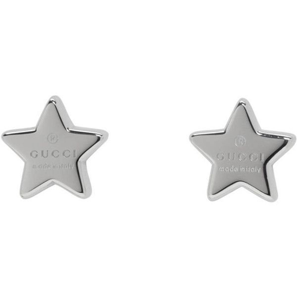 Gucci Silver Logo Star Earrings ($250) ❤ liked on Polyvore featuring jewelry, earrings, silver, gucci, silver jewelry, engraved silver jewelry, silver jewellery and star jewelry