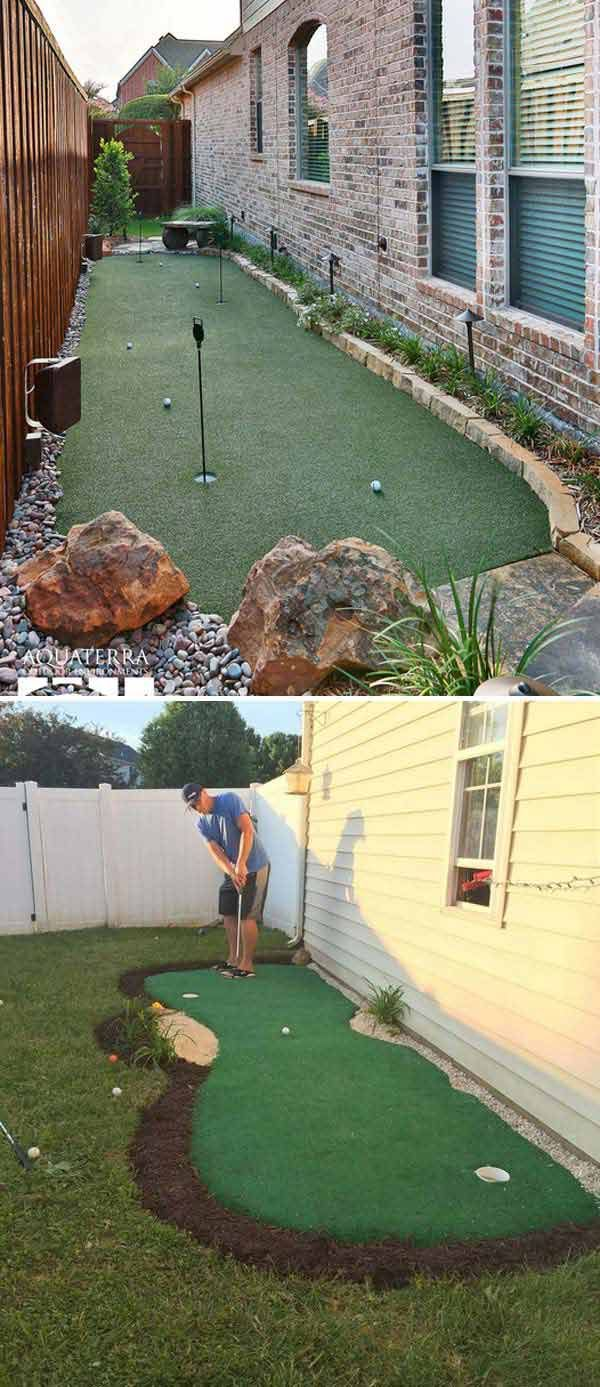 It would be the best place to practice golf in your home. -  Awesome Ideas To Use Your Narrow Side Yard