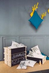wooden stacking boxes with chalk board front u back