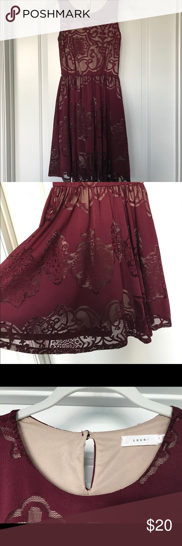 Women's maroon skater dress Lush size S maroon skater dress with nude lining to show medallion print all over dress. Keyhole button I'm back. Lush Dresses Midi