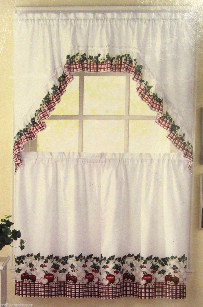 Charming Country Apple Blossom Apples 36L Tiers Swag Set Kitchen Curtains