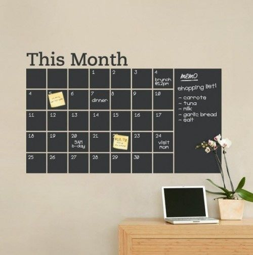 SOOO COOL!!! Vinyl chalkboard wall calendar!! Must have!! Would be lovely in a…