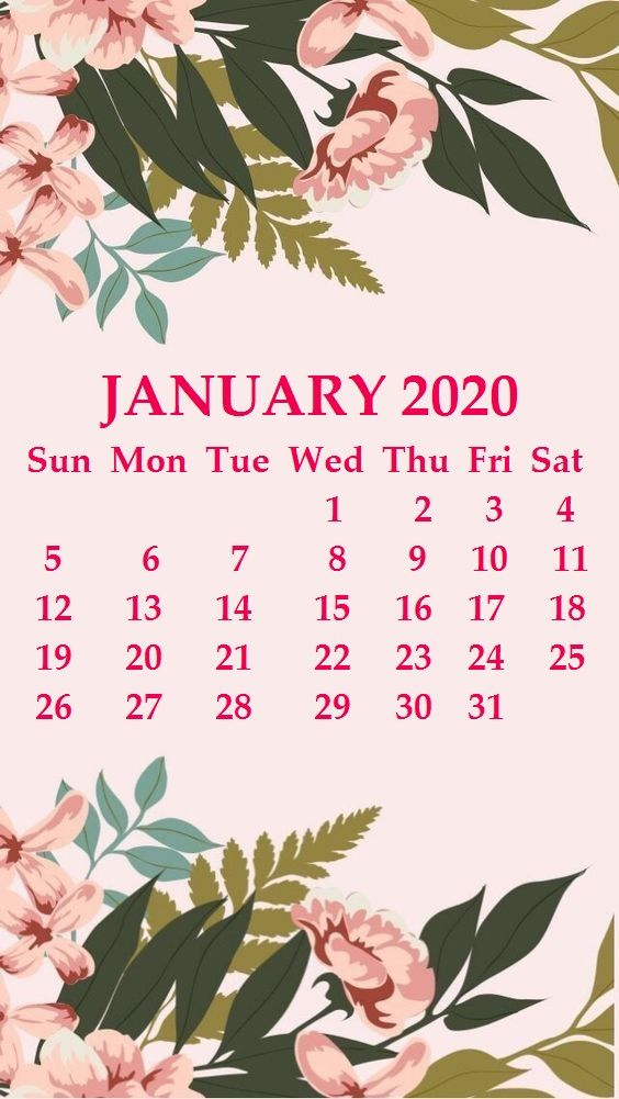iPhone January 2020 Calendar Wallpaper january