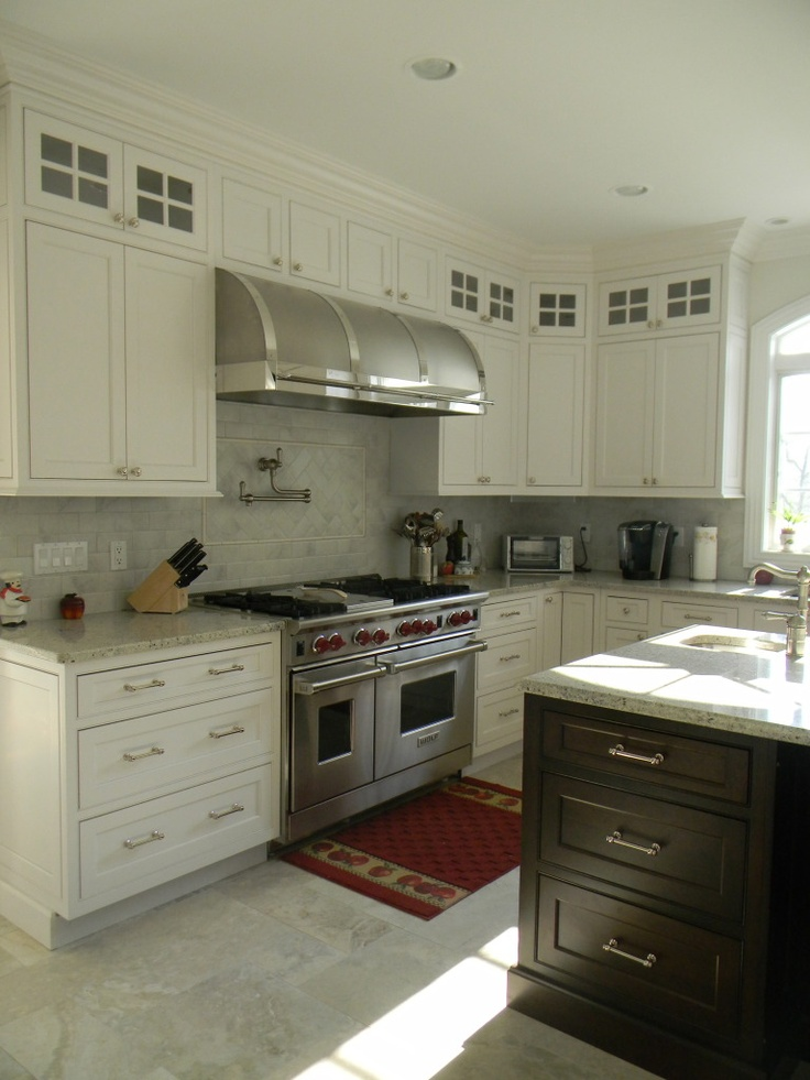 Kashmir White Granite Countertops, White Cabinets Glass On Top White Tiles  Dark Kitchen Table.