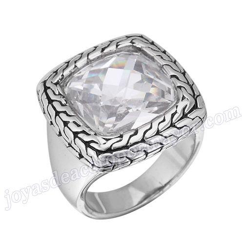 Material: Acero Inoxidable   Nombre:Anillos de cristal natural, Anillo de la joyería, Nuevos Producto de acero   Model No.:SSRG283   Peso:14.2G   Talla:US size #6 #7 #8 #9