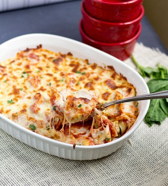 1 package tortellini, 1 cup mozzarella, 3 tbsp parmesan cheese, spaghetti sauce Cook tortellini, drain, mix in spaghetti sauce, place in baking dish and bake 350 for 10 min