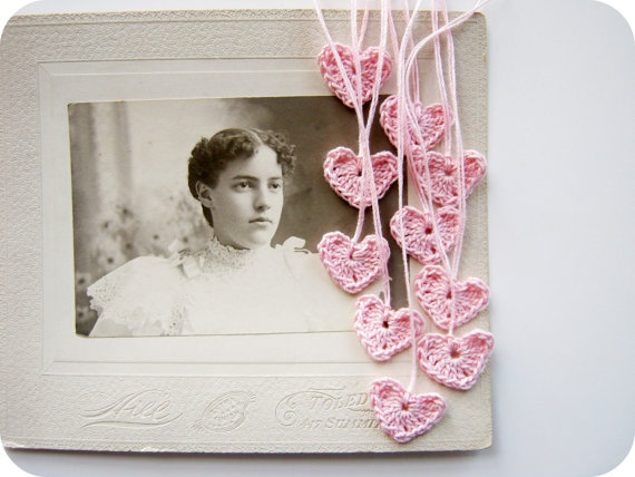 Crocheted hearts by cornflower blue studio at Etsy.