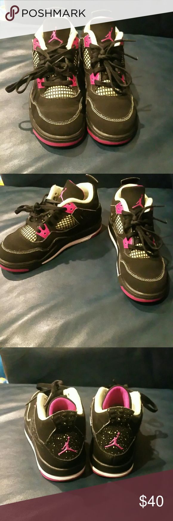 Jordan retro 4's Jordan Retro 4's black with pink and yellow. Very cute and great condition. Size 13c Jordan Shoes
