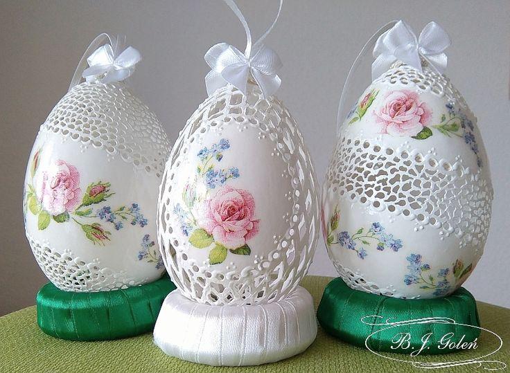 Wyposażenie, ażurowe kolorowe pisanki - ażurowe pisanki ze skorupek jaj gesich -made by BJGoleń