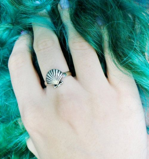 Mermaid seashell ring, sea shell, clam shell silver plated, adjustable, fits…