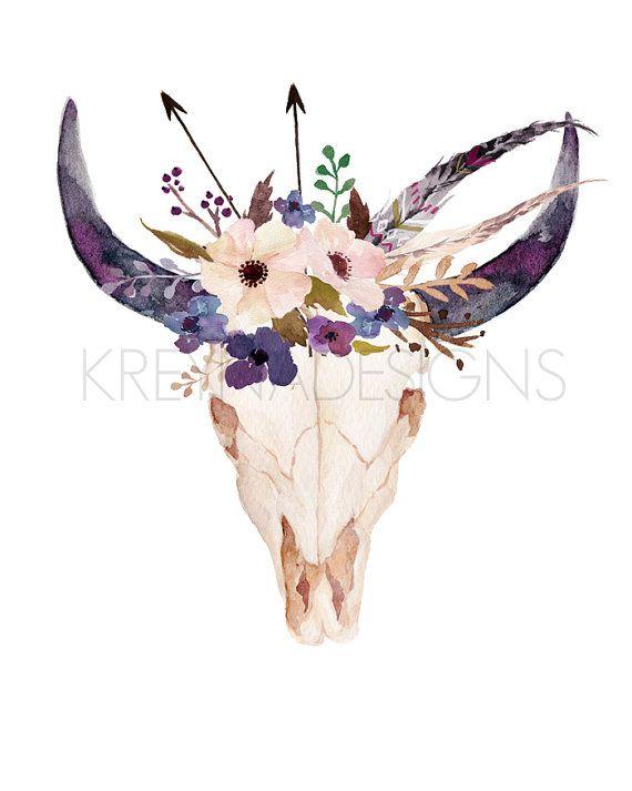 Cow Skull Printable Wall Art Wall Decor Feather by kreynadesigns