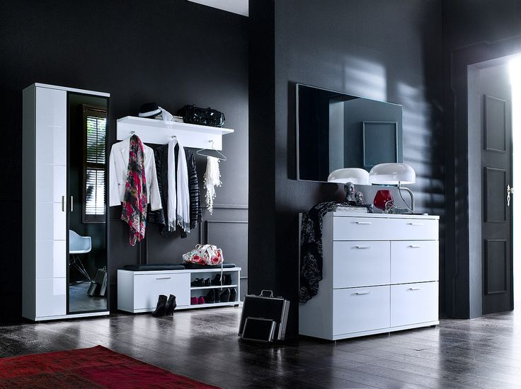 schuhschrank rubin ii hochglanz wei klare moderne. Black Bedroom Furniture Sets. Home Design Ideas