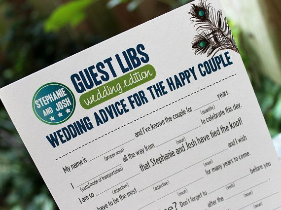 Fun Wedding Mad Libs from Cami's Paperie #mad #libs #peacock #blue #green #reception #games