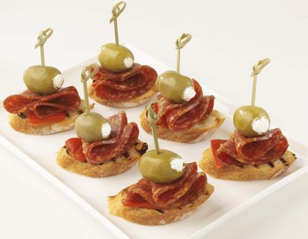 Salami and stuffed olives