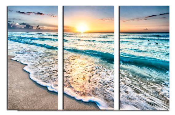 Beach In Cancun Sunrise 3 Panel Split Triptych Canvas Print