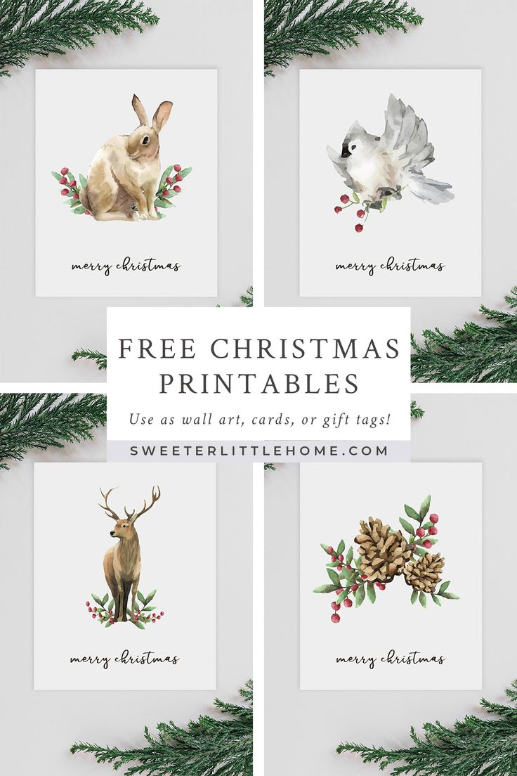 Free Christmas watercolour animals printables