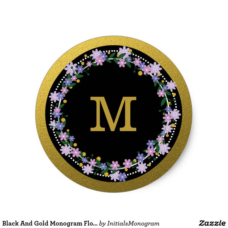 Black and gold monogram floral wreath classic round sticker