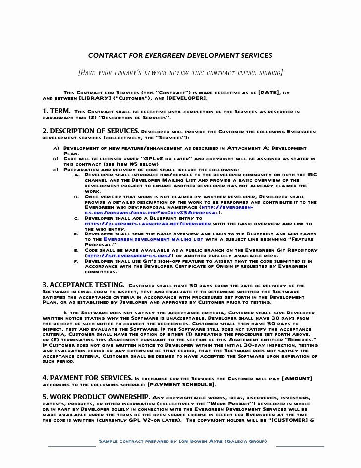 Software Development Contract Template New Sample Contract For Contracting With A Developer Eve Contract Template Proposal Templates Business Proposal Template