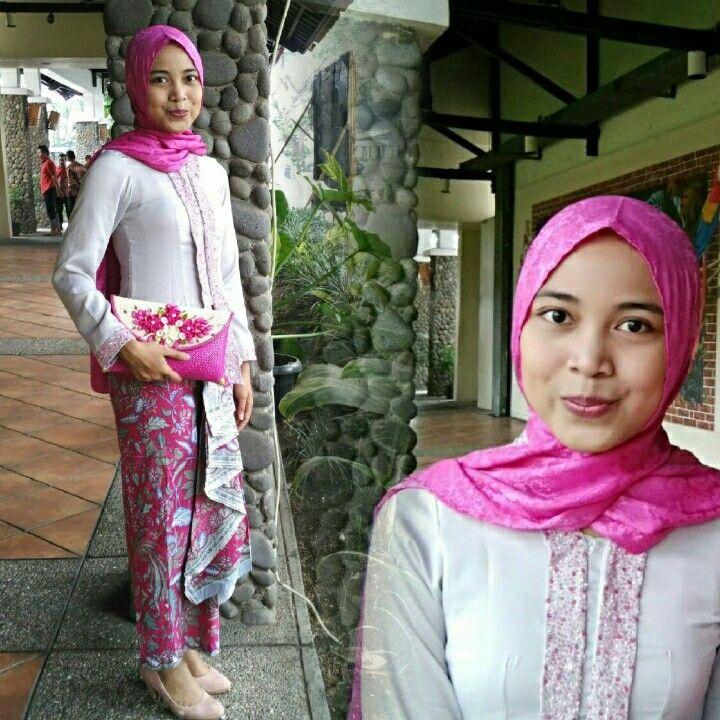 Shocking pink Hijab + grey Kebaya Kartini + Rok Batik lilit