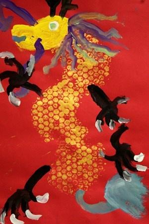 2nd grade Chinese New Year Dragon painting RT Artsonia Art Museum :: Artwork by Brooke2798