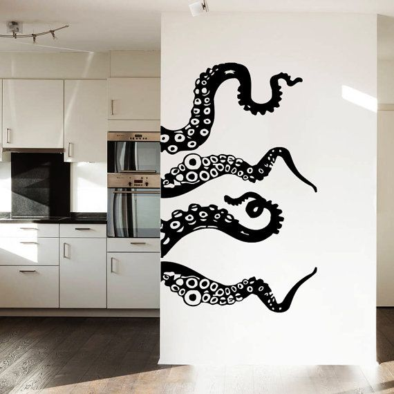 Wall Decal Vinyl Sticker Decals Art Home Decor Design Murals Octopus Tentacles Fish Deep Sea Ocean Animals Fashion Bedroom Bathroom Dorm AN3