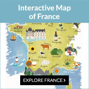 This interactive map of France has 2 illustrated maps with information on key French cities and hot spots, and 2 normal maps with regions and departments.