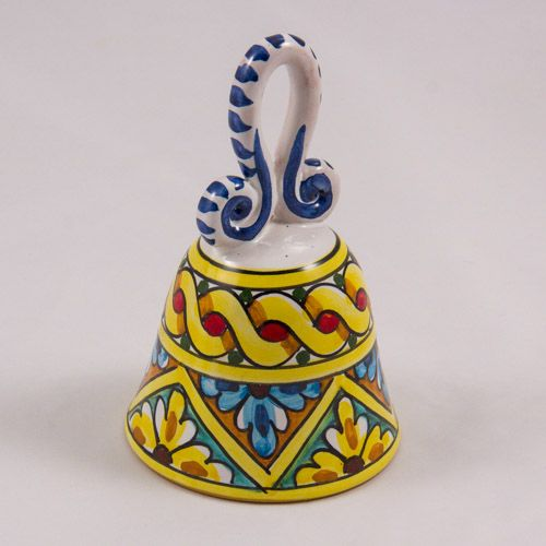 Decorative Bell: Italy. Flowers and Yellow Ribbon. Caltagirone Ceramics. Hand Made. Diameter 8 cm