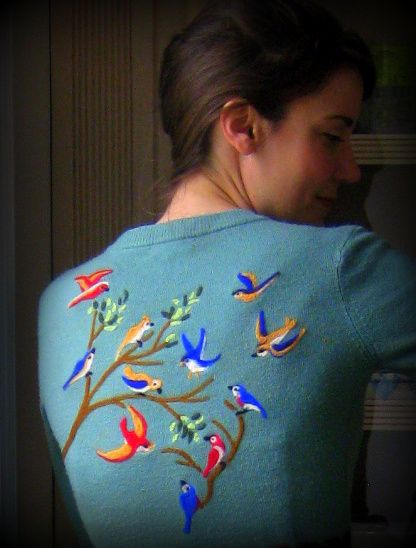 My latest needle felted sweater. I think I have a new addiction.