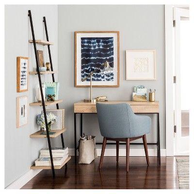 72″ Loring 5 Shelf Leaning Bookcase Vintage Oak – Project 62™