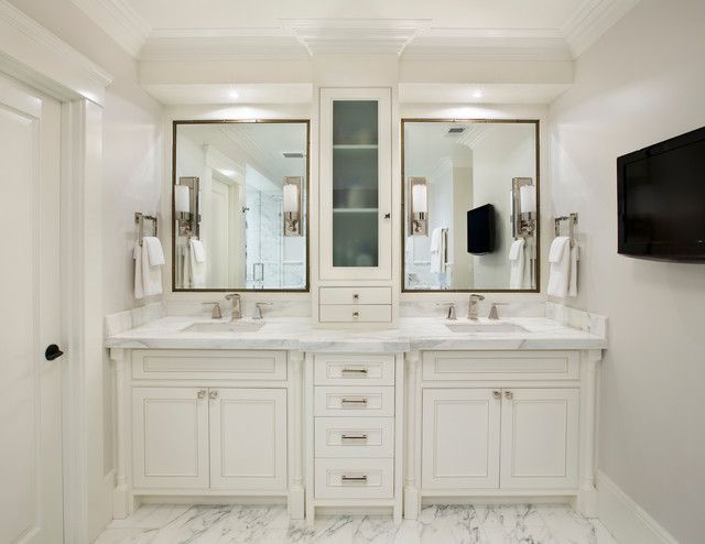 White Mediterranean Bathroom Design Interior Applied White Bathroom Vanity Cabinets and Marble Top with Double Sinks