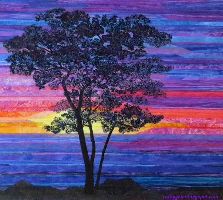 Sunset Sentinel, by Cathy Geier. Strip pieced with a confetti technique tree.
