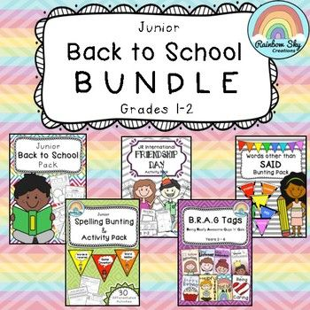 Junior Back to School Bundle. Includes 5 of our popular packs. Suitable for Grades 1 - 2. Print and reading to go. No Prep. ~ Rainbow Sky Creations ~