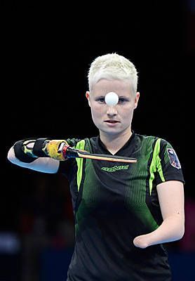 Germany's Stephanie Grebe in the women's table tennis event for the London 2012 Paralympic Games.