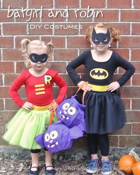 DIY Batgirl and Robin Girl Costumes from One Project Closer