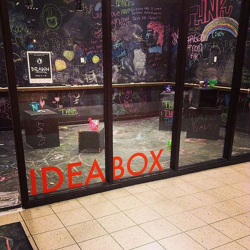 """Idea Box, located just inside the Oak Park Library's Main Library entrance, is a dedicated 9' x 13' space that each month provides a new and dynamic participatory community experience. Visitors are encouraged to learn through tinkering, fun, experimentation and play."""