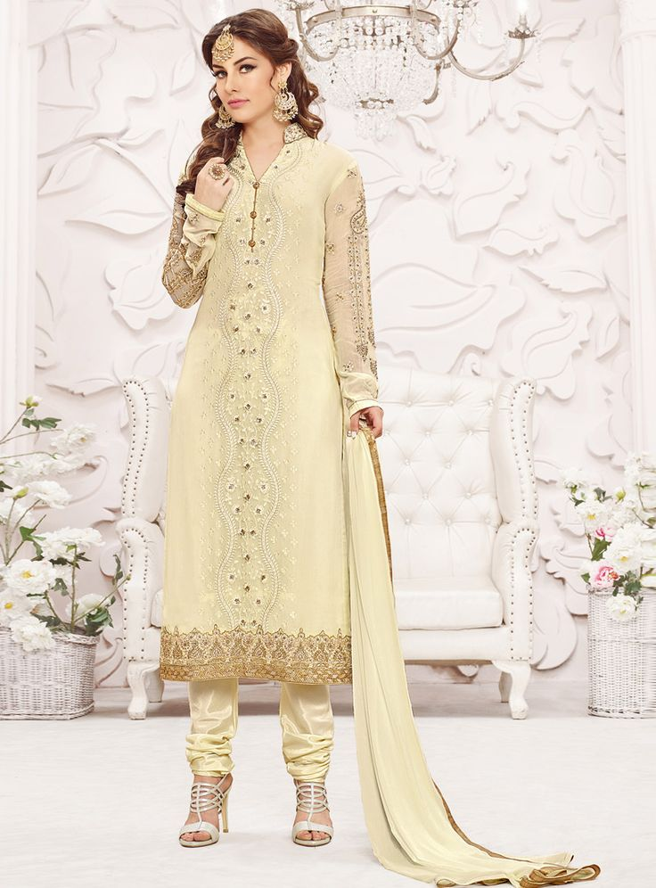 Buy Cream Georgette Churidar Salwar Suit 99395 online at lowest price from vast collection at m.indianclothstore.c.