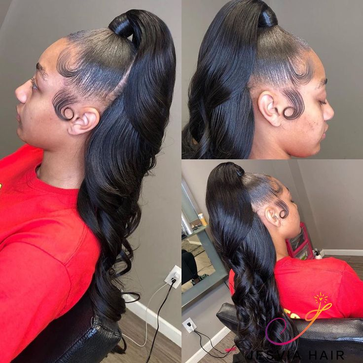 Body wave hair high ponytail. Pretty hairline. How do you like?
