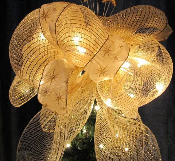 Sale Gold And Ivory Tree Top Bow Lighted Christmas Tree