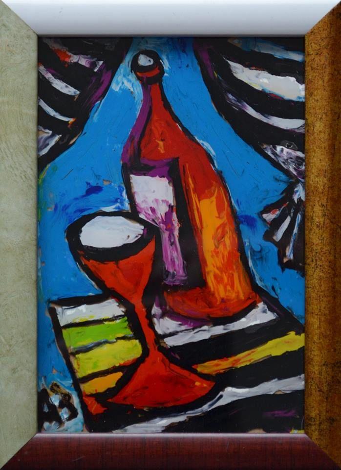 Рюмочка, бутылочка 1 (диптих)  стекло,м. 16х10 продано