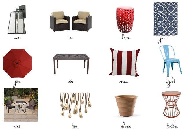 May 2016 - black outdoor light, wicker patio chairs, red garden stool, navy outdoor rug, patio umbrella, aluminum patio table, striped pillow, industrial chair, bistro set, plant stand, (product sources in blog post). Emily A. Clark