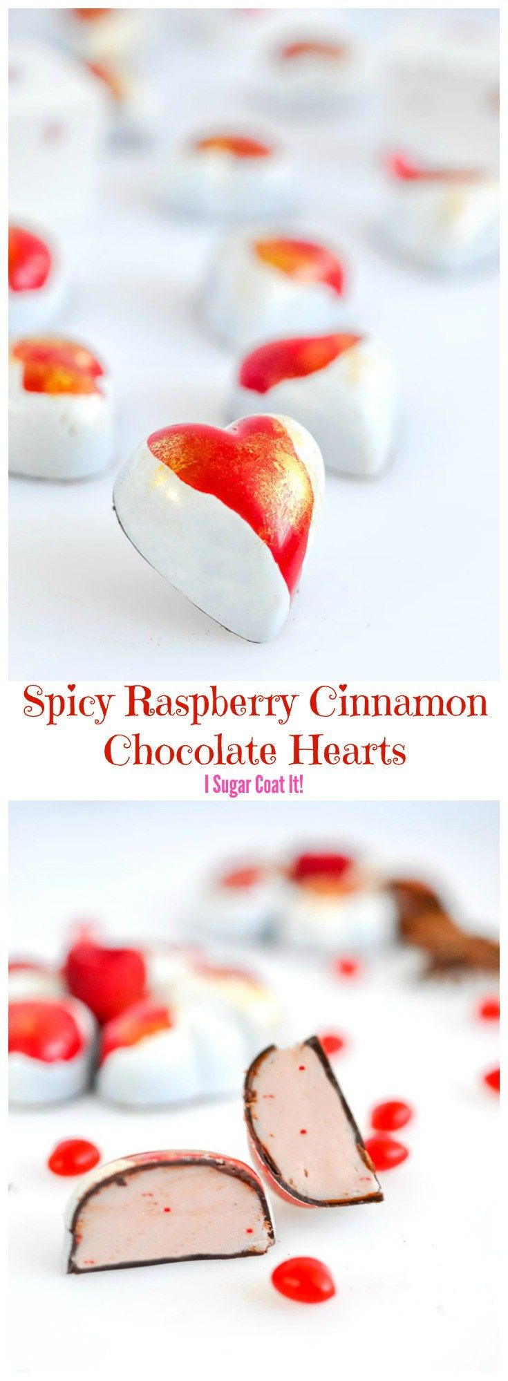 Reminiscent of cinnamon heart candy, these Spicy Raspberry Cinnamon #Chocolate Hearts are a perfect way to add a little sweet heat to your #Valentine's Day!