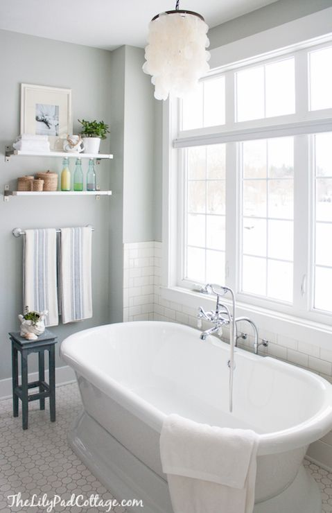 The lily pad cottage bathrooms benjamin moore arctic gray ekby j rpen ekby bj rnum for Pottery barn bathroom paint colors
