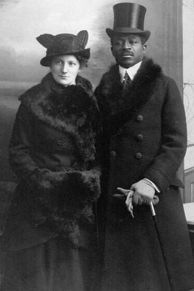 Interracial couple, Theophilus Wonja Michael and his wife Martha Wegner, Berlin, 1914. .