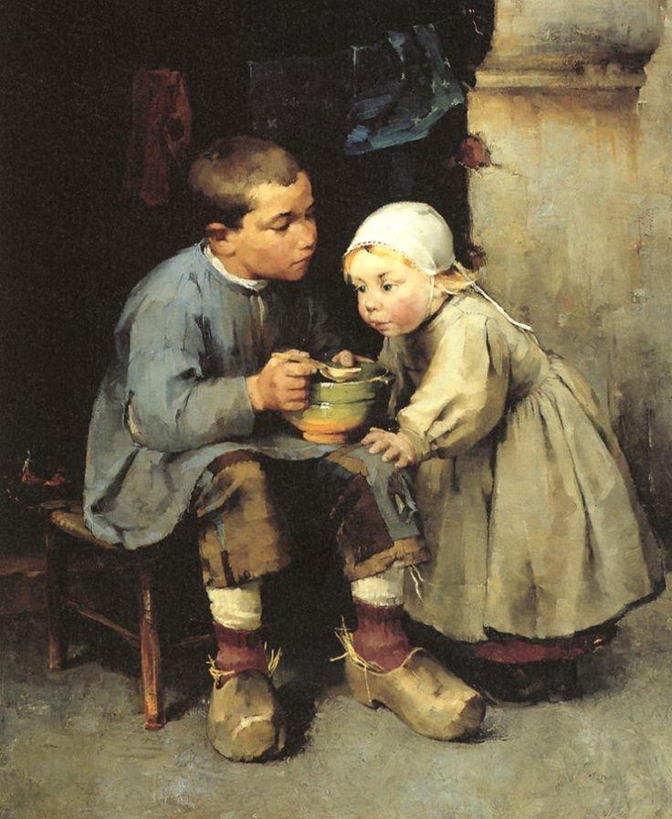 Helena Sofia Schjerfbeck (Finnish, 1862 - 1946) Boy feeding his little sister 1881 oil on canvas 115 x 94.5