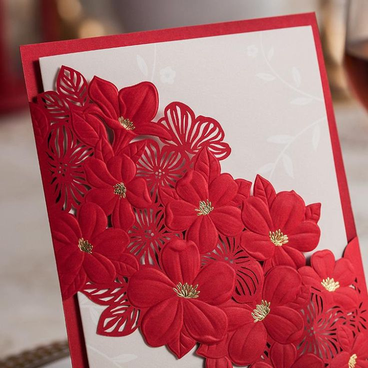 Gorgeous Laser Cut Lace Wedding Invitations Red Personalized Customized Printing Wedding Card Invitation 2014 Free Shipping