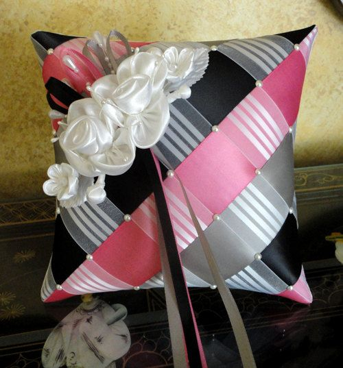 Wedding Ring Bearer Pillow, Black, Hot Pink, Grey, White Ribbon Weave with Swarovski Pearls, Satin Flowers or Custom Made to your Colors