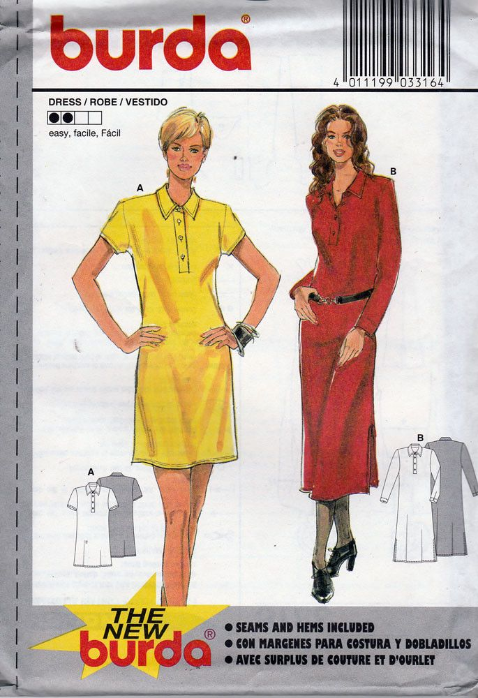 95a440e25a60 Burda Sewing Pattern 3316 Misses Shirt Dress, Sizes 8-18 NEW | New ...
