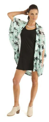 love a good style shrug ..mint and black palm tree worn over a simple black dress.