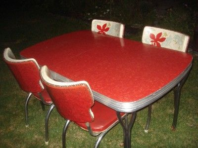 Vintage Red Formica Table U0026 5 Wingback Chairs Chrome Legs Cracked Ice  Turquoise