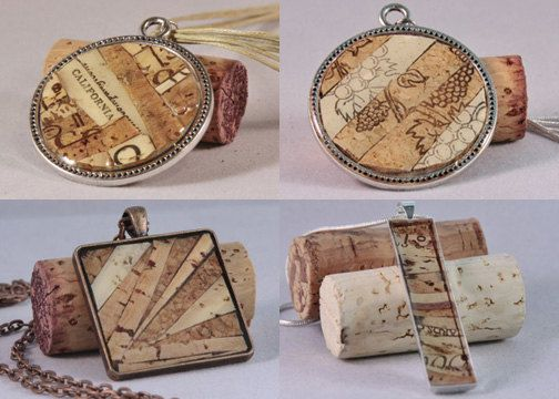 Recycled wine cork jewelry by ZonaShermanDesigns